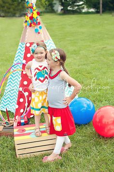 Love the outfit and the tent!!! Childrens Clothing....Circus Time.... The Elephant Skirt.... buy 2 skirts get 1 free....handmade childrens clothing by laken and lila. $24.50, via Etsy.