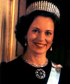 Princess Benedikte of SWB, formerly Denmark, wearing the diamond fringe tiara given to her by husband Richard, 6th Prince, and given to him by his grandmother Madeleine.