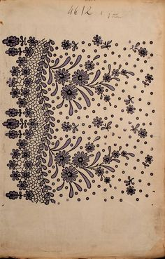 Lace embroidery pattern for Muslin ~ c1863 collection of French fabric swatches