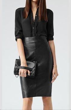Skirt, blouse, clutch
