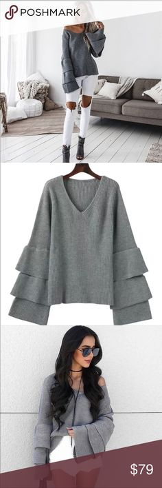 Layered Bell Sleeve Cozy Knit V Neck Sweater Grey Cute, retro bell sleeves with a tiered boho look. Super soft, comfortable ribbed knit texture. Flattering v neckline that pairs great with scarves. OSFM (sizes 0-10)  Available in soft white, black, and grey.  loose fit cable waffle knit slouchy oversized ruffle sleeve Enchanted Dreams Sweaters
