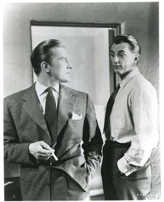 """Kirk Douglas & Robert Mitchum in """"Out of the Past"""" aka """"Build My Gallows High"""" directed by Jacques Tourneur (1947)"""