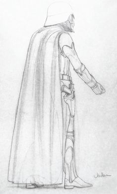 Darth Vader early original sketch by Ralph McQuarrie! (circa 1974)