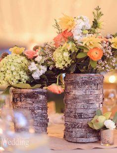Rustic Wedding Inspiration | Wood Vases