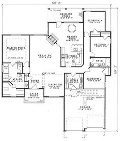 2238 sf - DR for pool table - slight adjustment to kitchen - no fireplace - PERFECT - First Floor Plan of House Plan 62215