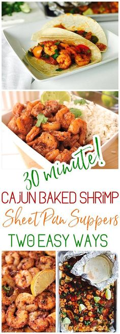 30 Minute Sheet Pan Cajun Shrimp Suppers Two Ways - Bowls and Tacos Recipes for Lunch or Dinner - Use it in tacos, meal prep bowls, or over rice or noodles. So versatile and the flavor is so yummy you'll want to eat the entire pan by itself! via Dreaming in DIY