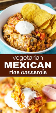 Vegetarian Mexican Rice Casserole The best of Healthy Vegetarian Mexican Casserole recipe with black beans, corn, bell pepper, cheese and enchilada sauce. A hearty and tasty vegetarian dinner recipe. Easy to make and i really sure you'll love it! Vegetarian Mexican Rice, Tasty Vegetarian Recipes, Vegan Dinner Recipes, Vegetarian Recipes Dinner, Vegan Dinners, Mexican Food Recipes, Cooking Recipes, Healthy Recipes, Healthy Vegetarian Casserole