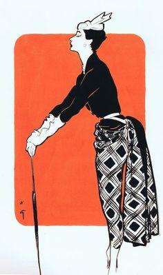 Christian Dior 1967 - Illustration by René Gruau Mode Vintage Illustration, Fashion Illustration Sketches, Art Et Illustration, Fashion Sketches, Marie Madeleine, Rene Gruau, Jacques Fath, Pierre Balmain, Funny Art