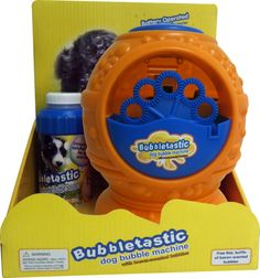 Doggy bubble machine w/ bacon flavored bubbles!!!  Bubbletastic Dog Bubble Machine