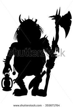 Silhouette Goblin with an axe and a lantern. Illustration silhouette a scary goblin or a troll or another monster with an axe and a lantern