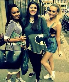 Leigh and Perrie with a fan in London 8.2.14