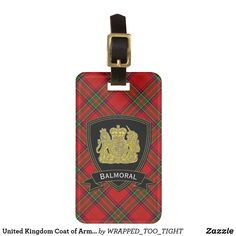 United Kingdom Coat of Arms Tartan Your Text Luggage Tag