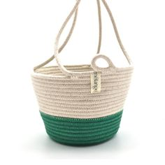 Hanging Planter Green Cotton Rope, Hanging Planters, Sale Items, In The Heights, Straw Bag, Green, Blue Prints, Garden Box Raised, Hanging Air Plants