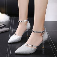Stiletto Heel Pointed Toe Line-Style Buckle Thread Casual Low-Cut Upper Thin Shoes Ankle Strap Heels, Pumps Heels, Stiletto Heels, High Heels, Stylo Shoes, Prom Shoes, Fashion Heels, Mode Style, Beautiful Shoes