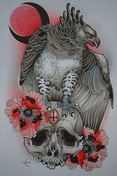 P Tattoo, Body Art Tattoos, Sleeve Tattoos, Bird Of Prey Tattoo, Feather Tattoos, Tattoo Studio, Eagle Drawing, Eagle Art, Owl Tattoo Design