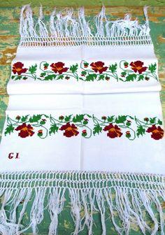 495. European linen towel, vintage linen towel, handloomed pure linen towel, hand embroidered monogrammed decor towel (unused) Embroidered Apron, Embroidered Flowers, Handmade Table, Handmade Gifts, Hungarian Embroidery, Linen Towels, Vintage Linen, Fabric Panels, Vintage Crochet