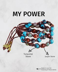 MY POWER - Made from turquoise and jasper stone ✨✨ Swipe to see the meaning of these stones😍😍 Let me know what you think about this bracelet 👇🏻👇🏻  Welcome to @nivess_com, where you can find your meaningful jewelry handmade by local Balinese artisan 💞 Check our new collections at www.nivess.com 🍃 Get your discount code on BIO. Happy Shopping 🌸 #nivess #natural #jewelry Meaningful Jewelry, Jasper Stone, Turquoise Stone, Happy Shopping, Finding Yourself, Handmade Jewelry, Artisan, Natural Jewelry, Beaded Bracelets