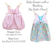 Easy Girls Bubble Romper & MATCHING Girls Dress Patterns PDF | Etsy Girls Skirt Patterns, Boys Sewing Patterns, Toddler Skirt, Baby Skirt, Summer Girls, Rompers, Sew Baby, Baby Sewing, Bubble