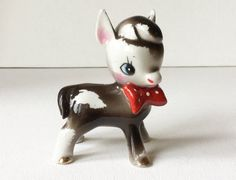 Vintage Ceramic Donkey, Cute Kitschy Donkey Figurine with Red Bow and Gold Hooves, Foreign / Japan, 1950s, 001186