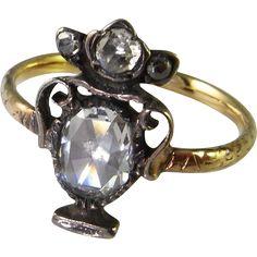 Rare Georgian Rose Cut Diamond Mourning Ring