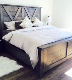 barn door style farmhouse bed X styling so beautiful handmade #handmadehomedecor