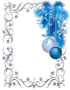 Silver and blue ornament Christmas frame