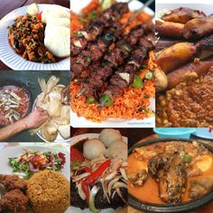 """GHANAIAN dishes - Fufu, Banku with peper & fish (sardines), Jollof with chicken or kebabs, Koko and Beans, and Yam """"Ampesie"""" Dishes you are likely to find on a FOOD TOUR. Find out more at : http://www.allaboutcuisines.com/food-tours/ghana/in/ghana #Ghanian Food #Travel Ghana #Food Tours Ghana"""