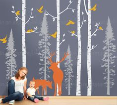 Birch Tree Wall Decal Fir Forest with Deer and by InAnInstantArt
