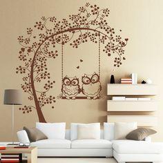 Wandtattoo - Wandtattoo Zwei Eulen auf einer Baum Schaukel / L - ein Designerstück von wandtattoo-loft bei DaWanda