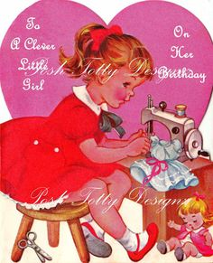 PLEASE NOTE...this listing is for 2 digital images and NOT the actual greetings card!!! The first one says To A Clever Little Girl On Her Birthday and the second image is blank. All these digital images come from my own personal collection of vintage cards that I still have or