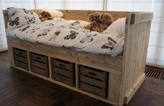 Steigerhout kajuitbed met fruitkistjes, steigerhout bedden, bed steigerhout, steigerhouten bed, steigerhout bed by Livengo.nl