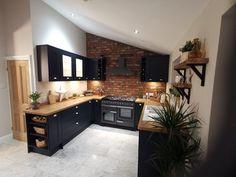 Open Plan Kitchen Living Room, Kitchen Room Design, Modern Kitchen Design, Home Decor Kitchen, Interior Design Kitchen, Brick Slips Kitchen, Exposed Brick Kitchen, Flat Interior Design, Navy Kitchen