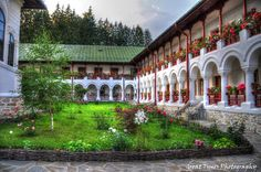 The name of the monastery comes from a monk named Agapie who founded a wooden church long time ago. Church Architecture, Romania, Fresco, Tourism, Around The Worlds, Outdoor Structures, Mansions, Landscape, House Styles