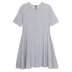 Olive + Oak French Terry Swing Dress ($68) ❤ liked on Polyvore featuring dresses, платья, heather grey, short long dresses, long fit and flare dress, crew neck dress, short sleeve dress and mini dress