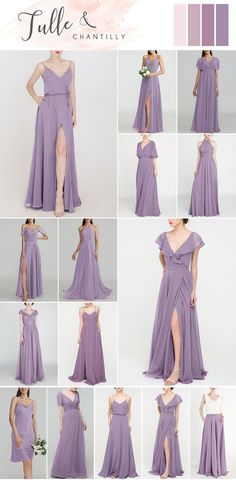 Wedding color idea with mismatched lavender purple bridesmaid dresses online in chiffon, tulle Affordable Bridesmaid Dresses, Purple Bridesmaid Dresses, Bridesmaid Dresses Online, Wedding Bridesmaids, Junior Bridesmaids, Wedding Dresses, Wedding Colors, Tulle, Chiffon