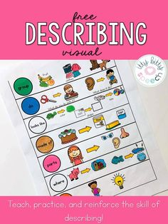 Grab this free one page describing visual, perfect for visual reminders of the Expanding Expressions Tool. Pairs perfectly with my … Speech Language Therapy, Speech Language Pathology, Speech And Language, Expanding Expression Tool, Preschool Speech Therapy, Toddler Speech Activities, Speech Therapy Games, Freebies, Language Activities