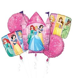 Your princess will feel like royalty with a Disney Princess Balloon Bouquet! This foil balloon bouquet includes 2 round balloons, 2 square balloons, and a giant Disney Princess castle balloon. Princess Party Supplies, Princess Birthday Party Decorations, Princess Theme Party, Disney Princess Decorations, Happy Birthday Disney Princess, Disney Princess Castle, Pink Princess, Princess Balloons, Balloon Bouquet