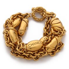 Wgaca Vintage Vintage Chanel Buoys Bracelet - Gold ($2,849) ❤ liked on Polyvore featuring jewelry, bracelets, accessories, vintage charms, yellow gold bangle, gold bangles, gold charm jewelry and vintage gold bangle