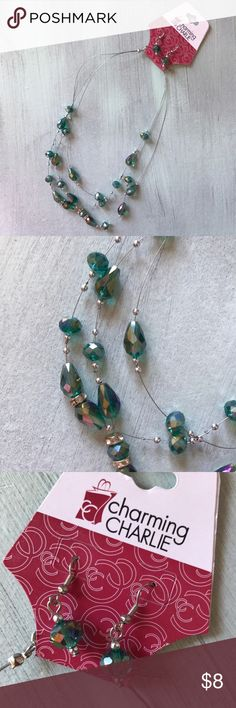 Earrings and necklace set Charming Charlie turquoise iridescent earrings and necklace matching set Charming Charlie Jewelry
