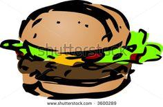 hand drawn images of food | Hamburger fast food, hand drawn inked look illustration - stock vector