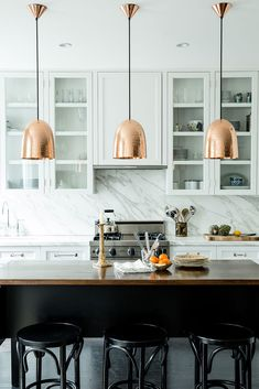 Copper pendant lights, marble splashback. Perfection!