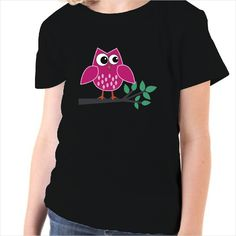 Camiseta infantil Búho rosa