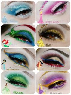 Disney makeup! I'm in love...although the blue on Ariel's makeup should totally be purple.