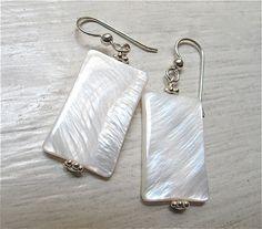 Drop earrings. Silver earrings. White earrings. Mother of pearl shell jewelry. Square earrings. SIMPLICITY