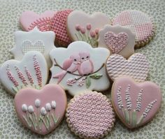 .pink frosted decorated, heart-shaped cookies    Beautiful!!!