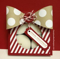 super cute Stampin Up Envelope Punch Board Box decorated with huge bow tealight candles inside - great gift idea