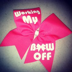 "Working My Bow Off on 3"" Pink Grosgrain Cheer Bow on Etsy, $10.00"