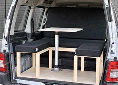 The Simple camper van conversion in seating mode with the optional cushion set. Camper Berlingo, Motorhome, Peugeot, Kangoo Camper, Campervan Bed, Folding Campers, Camper Beds, Transit Camper, Mini Camper