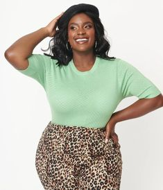 Plus Size Mint Green Perforated Daisy Knit Top