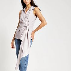 Grey asymmetric shirt | River Island